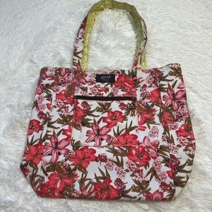 Gigi Hill Red & Lime green Floral Large Tote